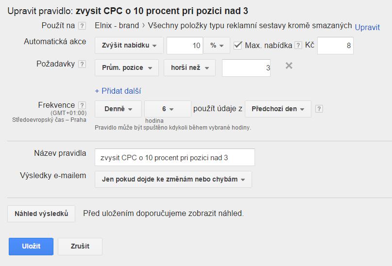automatická pravidla adwords - nastavení CPC